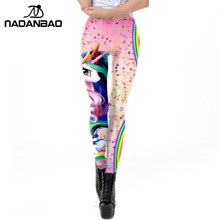 4b883591348 NADANBAO 2019 Galaxy Women Leggings Kawaii Unicorn 3D Printed Workout Female  Leggin Fitness Legging Plus Size