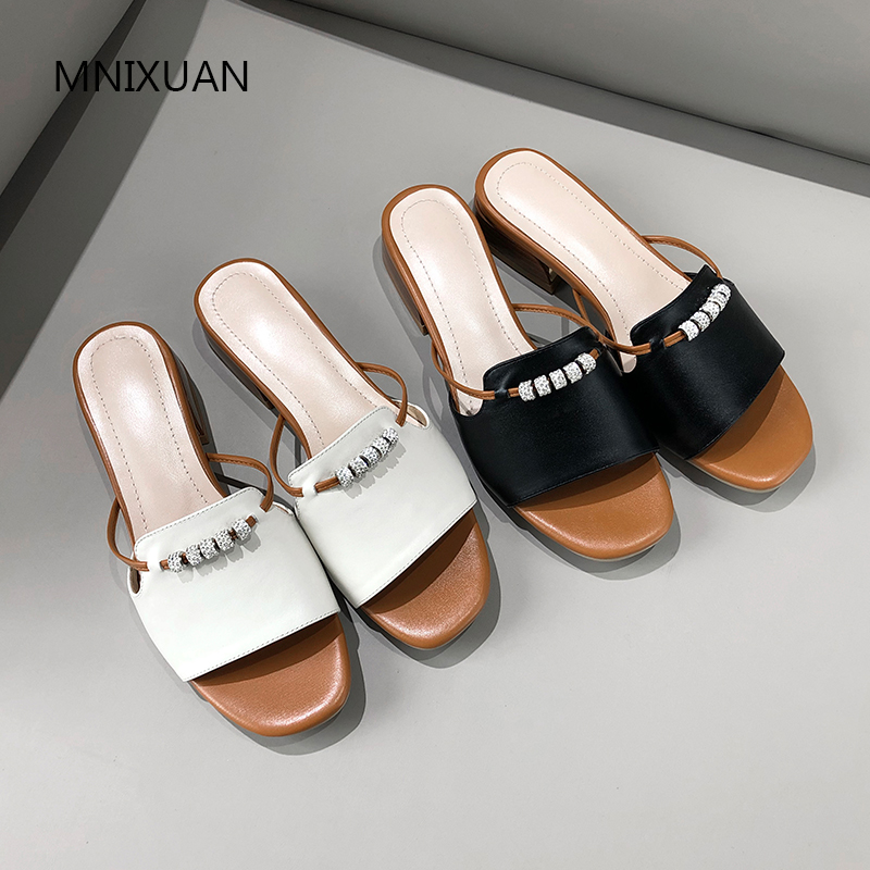 MNIXUAN Outdoor women slippers sandals shoes 2019 new fashion genuine leather peep toe string bead medium
