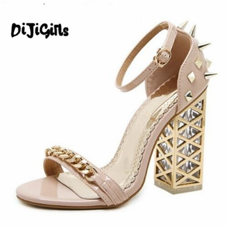 2018 new Summer fashion Roman chain rivet Women Pumps Shoes Sexy High heels Crystal with Buckle Party Woman Sandals padegao 2017 new fashion high heels women sandals sexy decorated with metal chain wear convenient cool slippers shoes women shoe