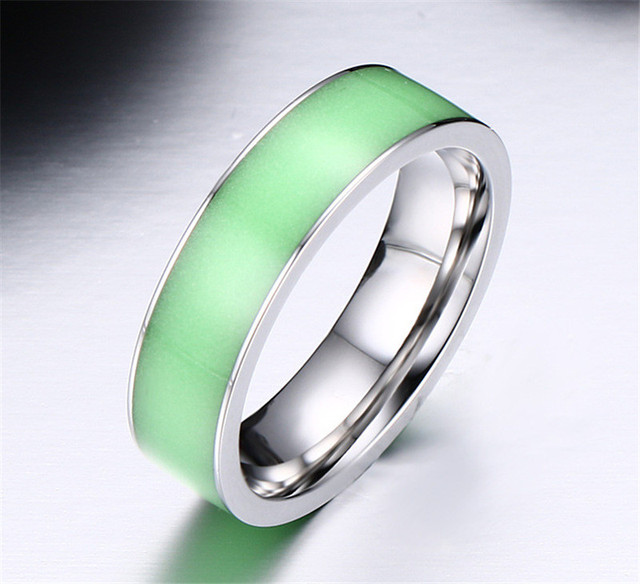 Green Glow in the Dark Couples Rings for MEN Titanium Steel Wedding