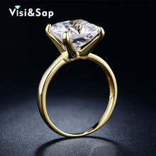 Gold Plated rings 6ct Big cz diamond Rings for women wedding Bijoux Trendy Jewelry luxury Accessories Wholesale V18KR011