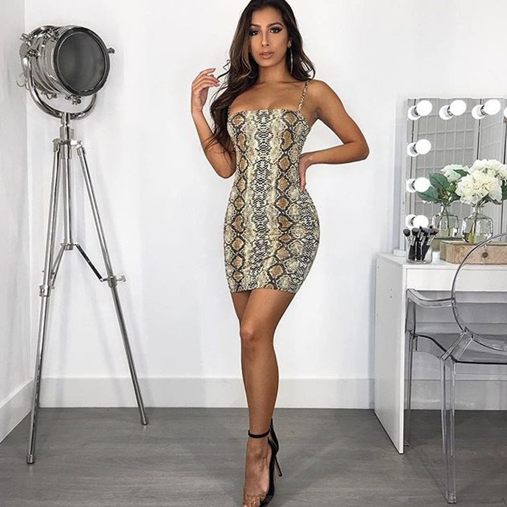 EIFER Leopard Snake Print Spaghetti straps <font><b>slash</b></font> neck <font><b>sexy</b></font> mini <font><b>dress</b></font> 2019 spring summer women fashion high waist <font><b>dresses</b></font> image