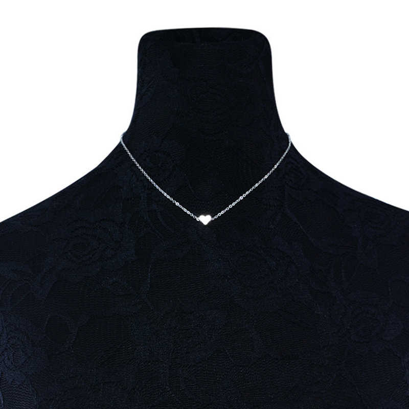 2018 New Tiny Heart Necklace for Women Ethnic Bohemian Choker Necklace Gold Silver Color Chain Heart Shape Pendant Necklace Gift