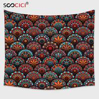 Cutom Tapestry Wall Hanging,Mandala Decor Spiritual Pattern with Arabesque and Geometric Floral Forms Artful Image Scarlet Blue