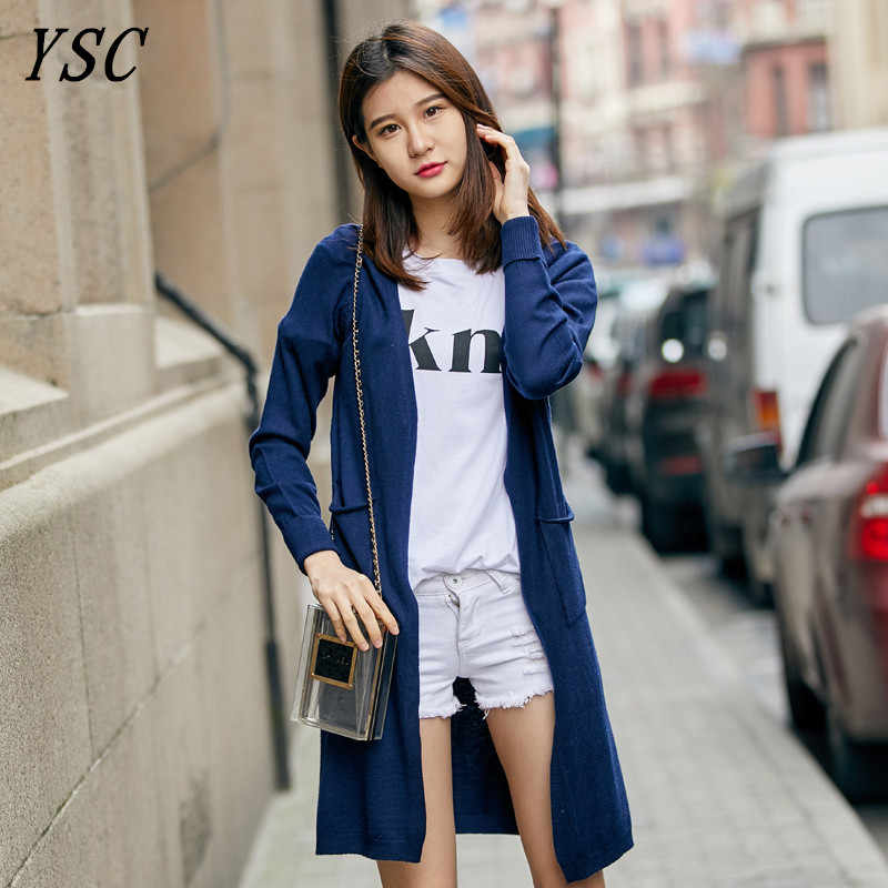 YUNSHUCLOSET 2017 New Design Cashmere blend Cardigan Loog paragraph roll up the sleeves cardigan High-quality Free Shipping