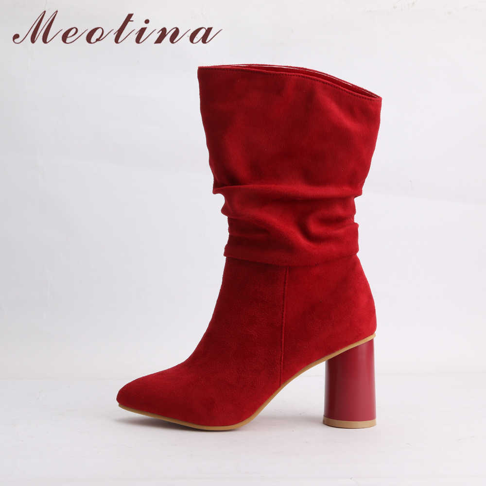 Meotina/зимние ботинки в западном стиле; женские ботинки с острым носком на высоком каблуке с круглым носком; сапоги в западном стиле со складками; Осенняя женская обувь; Цвет Красный