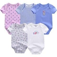 Roupa do bebê roupas roupas de algodão corpo terno 5 pçs dot impresso rosa manga curta macacão roupas recém nascidos do bebê bodysuit