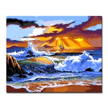 Sea Waves DIY Painting By Numbers Coloring On Canvas Home Decor Wall Art Acrylic Sunset Seascape Oil Pictures For Living Room