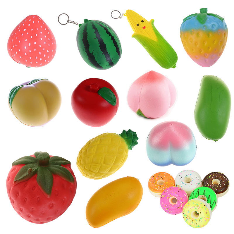 <font><b>Big</b></font> Jumbo Simulation <font><b>Fruit</b></font> Mango Strawberry Squeeze Slow Rising Phone Straps Soft Cream Scented Bread Cake Kid Fun Toy Gift image