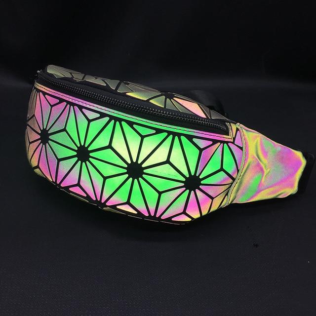 2018 Fashion Luminous Waist Bags Women Waist Fanny Packs Belt Bag Luxury Brand Leather Chest Handbag Geometry Waist Packs 5