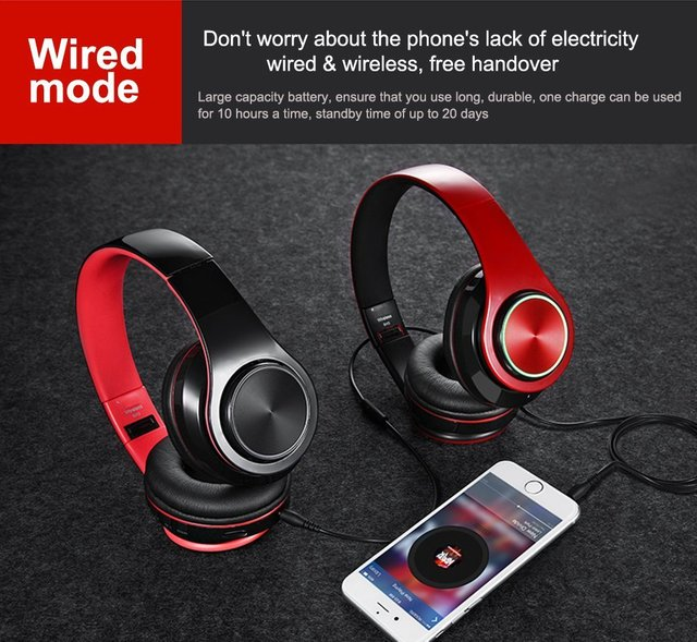 Tourya Wireless Headphones Bluetooth Headphone 7 Colors Glowing LED Headset With MIC Support TF Card For Phone PC MP3 Player