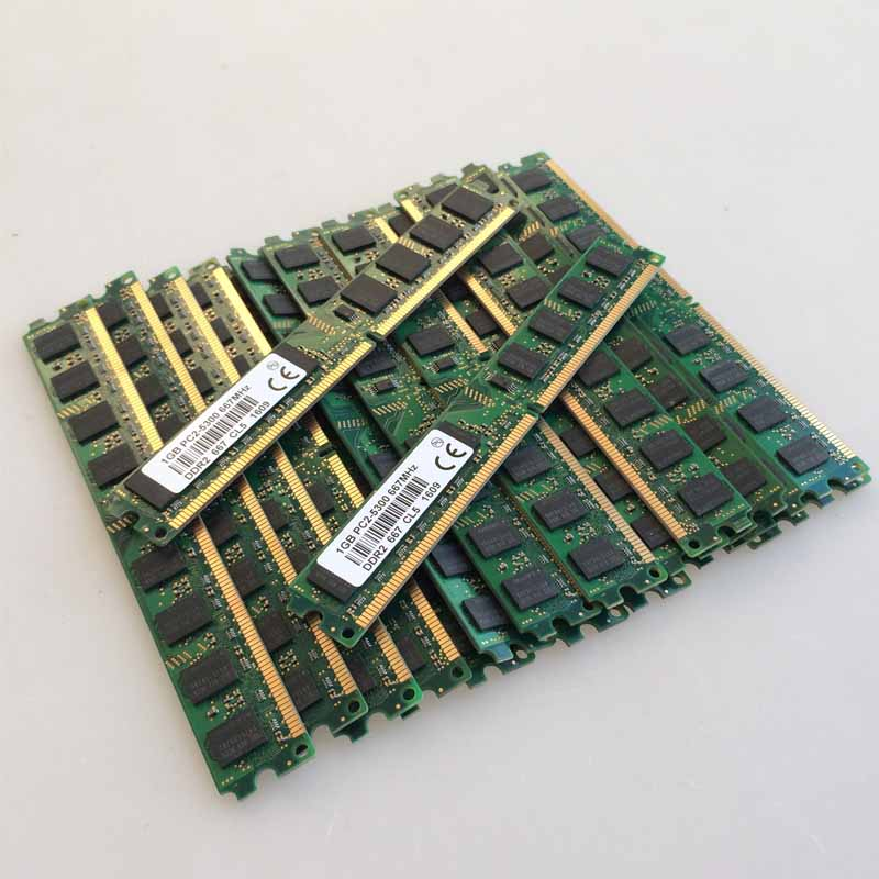 NEW 100X1GB 1GB PC2-5300 DDR2 667 667Mhz 240pin DIMM Dekstop Memory DDR2 Low Density RAM Free shipping