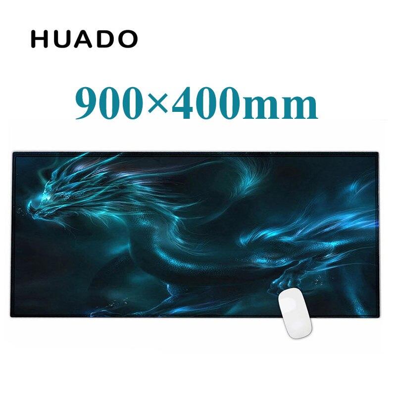 Bleu dragon en caoutchouc plus grande souris de jeu tapis de souris Clavier D'ordinateur Portable tapis XL 900*400mm pour CS Dota 2 Ligue de Légende
