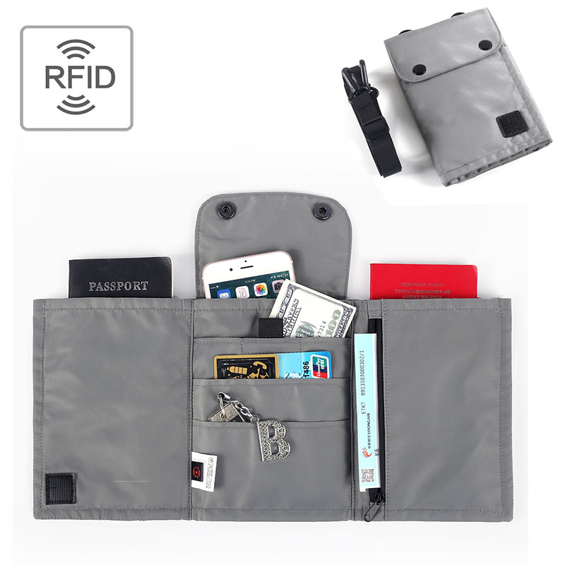 RFID Blocking Passport Holder Neck Bag Travel Pack Waterproof Nylon ID Card Holder Pouch Wallet Bag With Chain