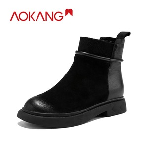 Image 1 - AOKANG bottes de moto pour femme, chaussures Martin chics, Style britannique, pour femmes, chaussures à la cheville, automne et hiver décontracté