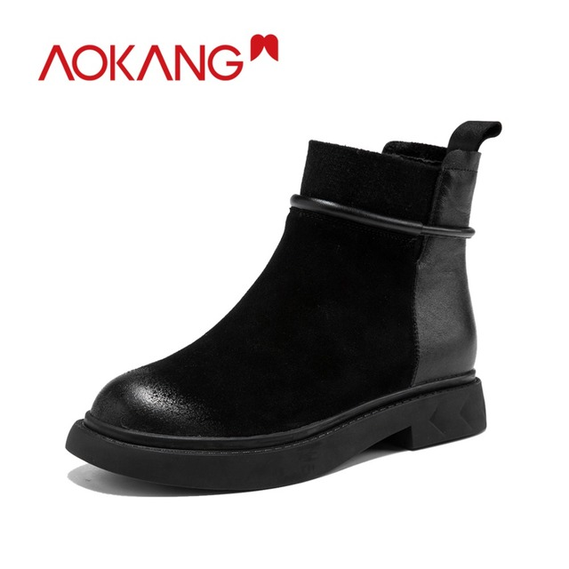 AOKANG jesień zima buty damskie krowa Suede brytyjski styl elegancki Martin buty damskie na co dzień panie buty do kostki buty motocyklowe
