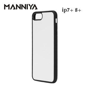 Image 2 - Manniya 2d 승화 빈 고무 tpu + pc 케이스 아이폰 7 플러스 8 플러스 알루미늄 삽입 및 접착제 무료 배송! 50 개/몫