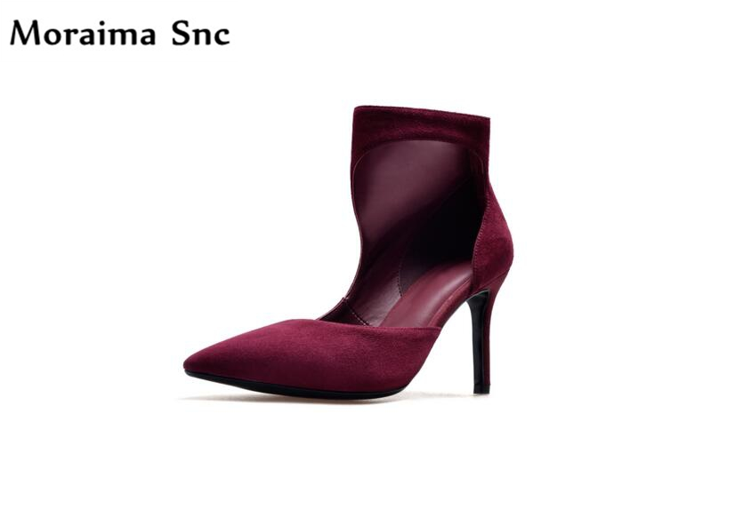 Moraima Snc sexy women Ankle boots Spring Autumn pointed toe thin high heel vintage velvet PU Leather handmade  casual shoes
