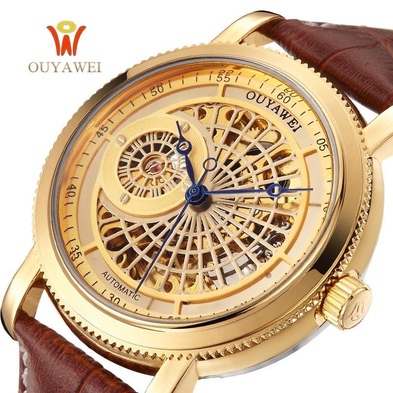 Male Leather Luxury Gold Automatic Watch Men Skeleton OUYAWEI Mechanical Wrist watches for Fashion Man clock horloges mannen стоимость