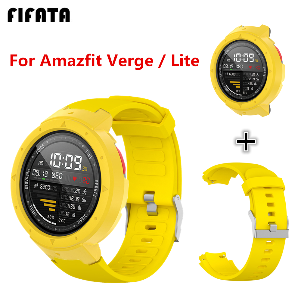 For Amazfit Verge 2 Watch Band For Amazfit Verge Strap For Amazfit Verge Lite PC Csae Cover + Soft Silicone Bracelet Accessories