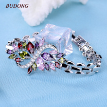 BUDONG 19cm Bracelet for Women  White Gold Plated Chain Link Bracelet Colored Crystal Cubic Zirconia Wedding Jewelry xuL117
