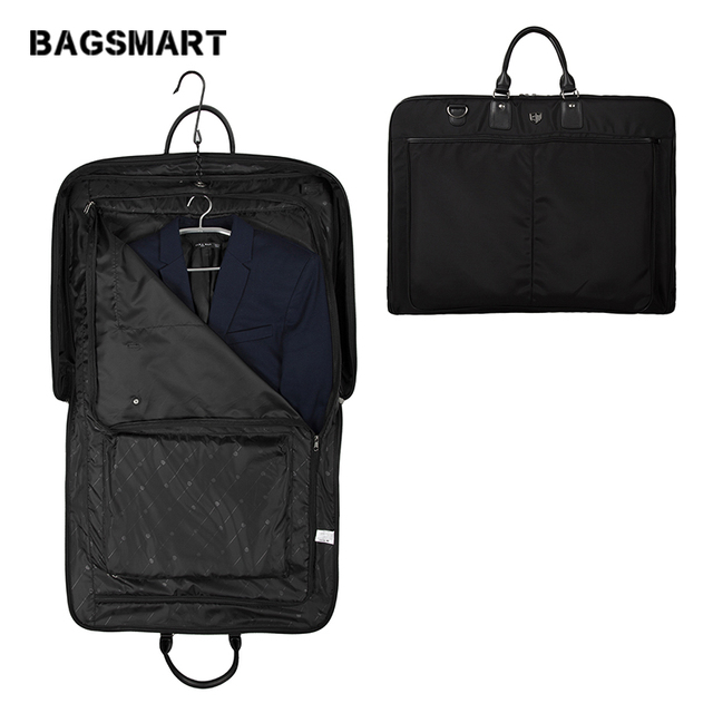 BAGSMART New Men's Suit Tote Garment Storage Bag Women Black Multi Function Uniform Business Travel Bag 62.2*48.3*8.9 CM