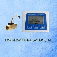 Us211m lite USC-HS21TH 1-30l/min leitor de fluxo 5v do medidor de fluxo digital compatível com todo nosso sensor de fluxo de água do efeito hall com