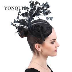 Sinamay Fascinators с пером гоночного сезона Шапки дамы Свадебная шляпка для коктейля вечерние События Случаю новый стиль высокое качество