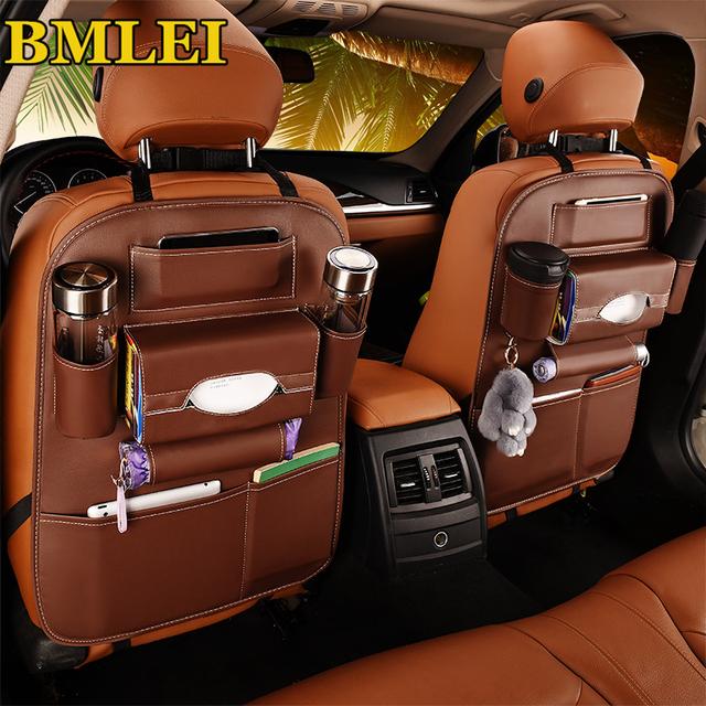 2018 New Car seat back storage Organizer bag Universal PU Leather Multifunction storage box Stowing Tidying Pocket Auto Styling
