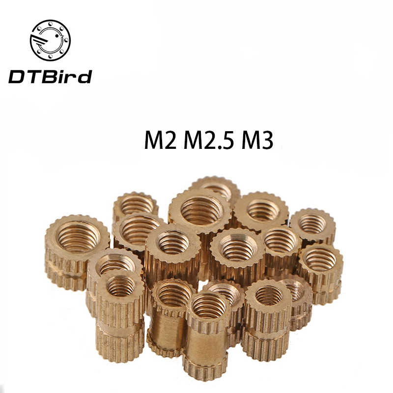 100pcs M2 M2.5 M3 Copper Inserts Brass Double Pass Knurl Nut Embedded Fastener