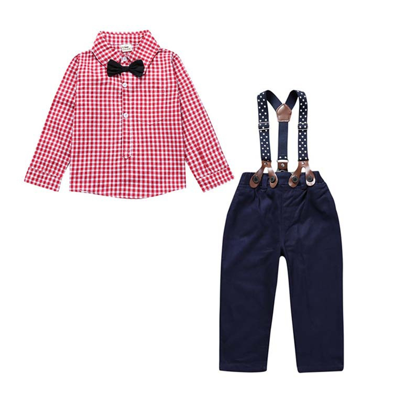 2018 Spring Baby Boy Clothes Cotton Baby Boy Clothing Set Gentlemen Long Sleeve Plaid Shirt Suspender Pants Autumn Roupas Bebe 2pcs set baby clothes set boy