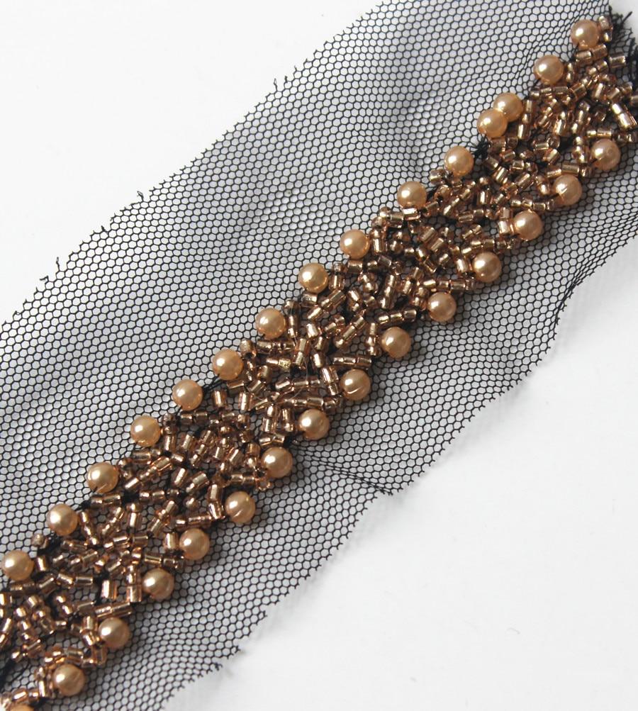 Beaded Trim Braided Black Mesh Net Lace Ribbon Venise Motif Embellishment Applique Trimming Sew on Collar 5yard T1403
