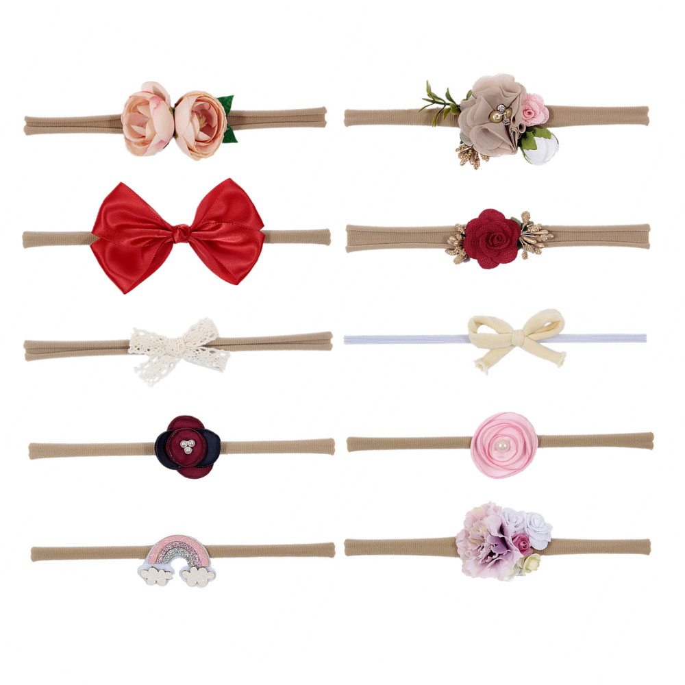 New Newborn Baby Hair Bows Flower Headband Rainbow Flowers Infant Toddler Hair Accessories Birthday Christmas Gift