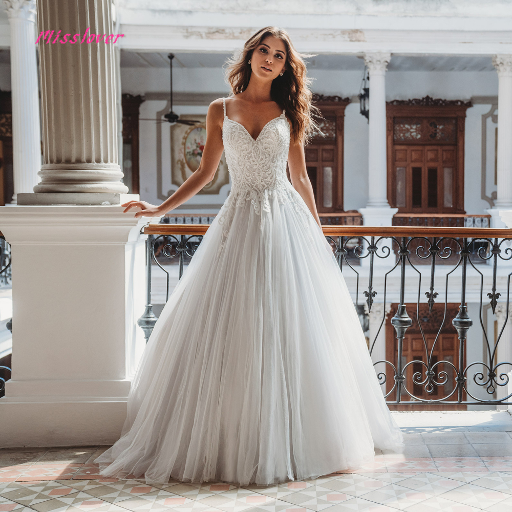 Robe de mariee Sexy V neck Wedding Dress 2019 new A line Bridal Gown Luxury lace