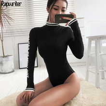 Rapwriter Sexy Skinny Panelled Turtleneck Knitted Bodysuits Women 2018 Autumn Wi