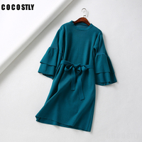 Sashes knitting winter dress women Casual femme knitted dress Autumn Green party dress female