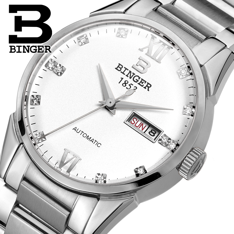 Switzerland men's watch luxury brand Wristwatches BINGER 18K gold Automatic self-wind full stainless steel waterproof  B1128-10 switzerland men s watch luxury brand wristwatches binger luminous automatic self wind full stainless steel waterproof b106 2