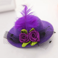 Cute Hat Hair Baby Girls Party Net yarn Shiny Hair Clip Children's Hat Headband Feathered Flowers Hair Accessories 30046