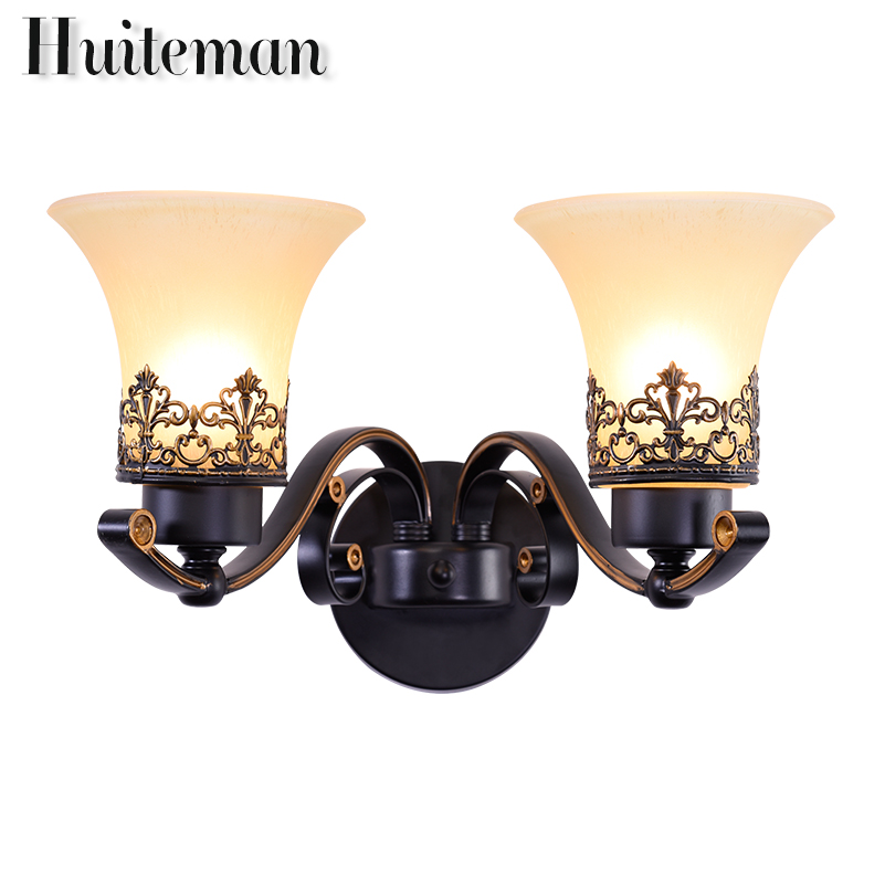 Huiteman Luxury Wall Lamps Vintage Black E27 Stained Glass Lights Double Head LED Living Room Stair Bedroom Bedside Wall Sconce novelty led wall lamps glass ball wall lights for home decor e27 ac220v