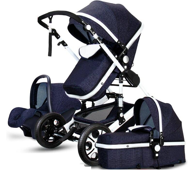 2-en-1 poussette 3-en-1 bébé poussette siège de sécurité peut s'asseoir inclinable bi- directionnel à quatre roues choc pliant nouveau-né bébé BB d'hiver