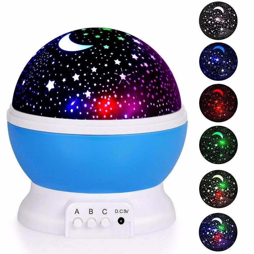 Best seller Romantico Nuovo Rotazione Sky Star Moon Rotazione Notte Luce Del Proiettore Lampada di Proiezione con l'alta qualità Lampada Da Letto Per Bambini