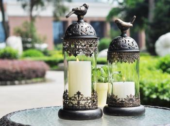 1pcs BirdCage Iron Candlestick Holder Glass Home Decor