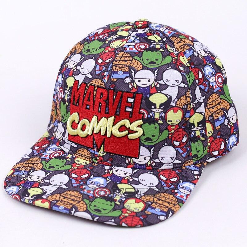 Prix pour 2017 New Summer Hommes et Femmes Marvel Comics Baseball Cap Snapback Réglable Plat Le Long de Rue Hip Hop Caps Gorras Chapeau