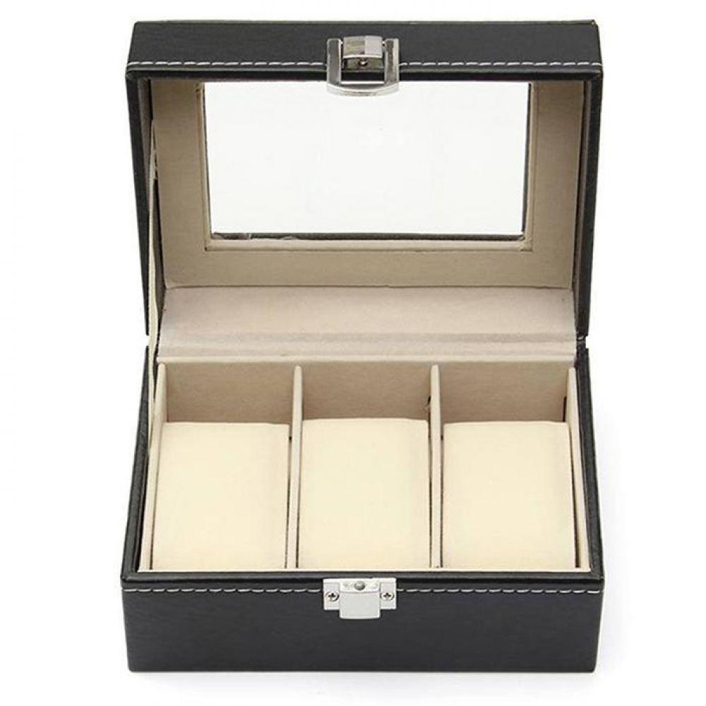 Rechteckigen 3 Grid Watch Box Display Sammlung Fall Uhren Boxen Halter Organizer Neue Metall Schnalle Schmuck Geschenk Box
