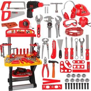 Image 2 - Детский набор инструментов инженер Моделирование Инструменты для ремонта игрушка Ax столярное сверло комплект отверток для ремонта играть набор игрушек для детей подарок
