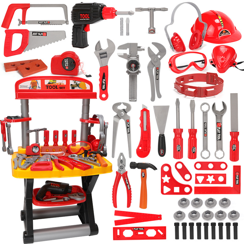 Image 2 - Children's Toolbox Engineer Simulation Repair Tools Toy Ax Carpentry Drill Screwdriver Repair Kit Play Toy Set for Kids Gift-in Tool Toys from Toys & Hobbies