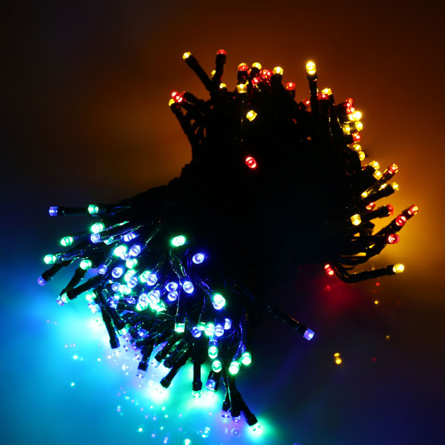 Top Quality Waterproof lederTEK 12m 100 LED Colorful LED Solar Powered Fairy String Lights 8 Modes Christmas Lights for party