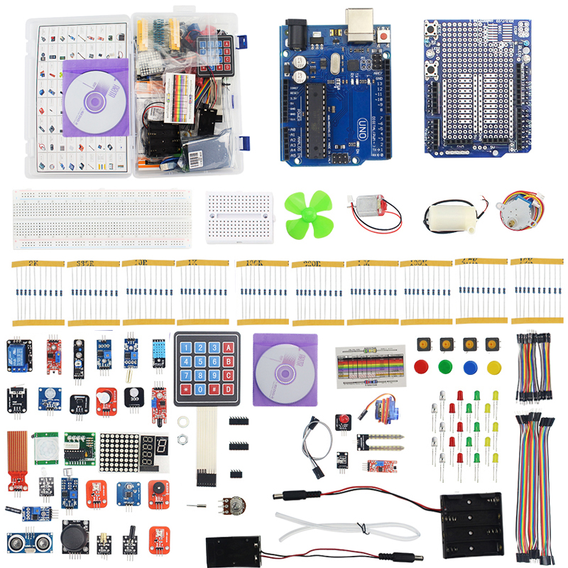 Ultimate Kit for for UNO R3 LCD1602 Motor Servo Remote Control Senseor Kit Breadboard Diode Digital Display Resistor uno r3 breadboard advance kit
