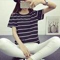 Moda verão 2017 Nova Solto Camisetas Mujer Curto-de mangas compridas camisa Listrada T Mulheres Simples Casual Camisetas Feminino Encabeça Harajuku