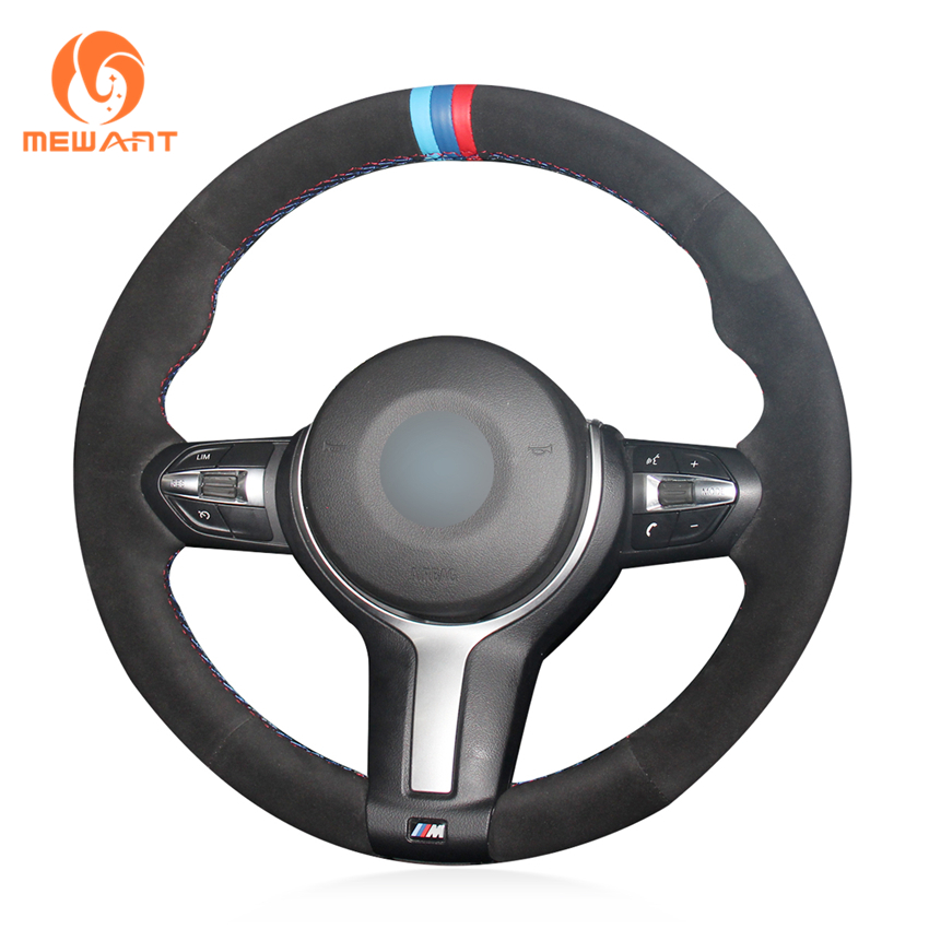 MEWANT Black Suede Genuine Leather Steering Wheel Cover for BMW F87 M2 F80 M3 F82 M4 M5 F12 F13 M6 X5 M F86 X6 M F33 F30 M SportMEWANT Black Suede Genuine Leather Steering Wheel Cover for BMW F87 M2 F80 M3 F82 M4 M5 F12 F13 M6 X5 M F86 X6 M F33 F30 M Sport
